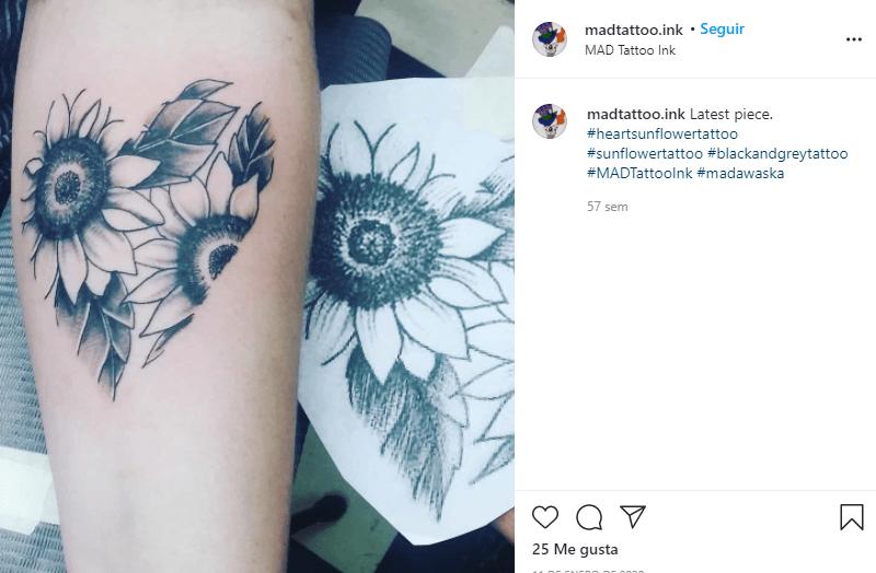 significado tatuaje de corazones con girasoles