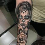 tatuajes de rosas con catrinas