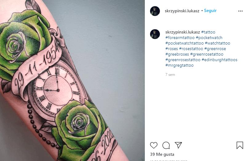 significado tatuajes de rosas verdes