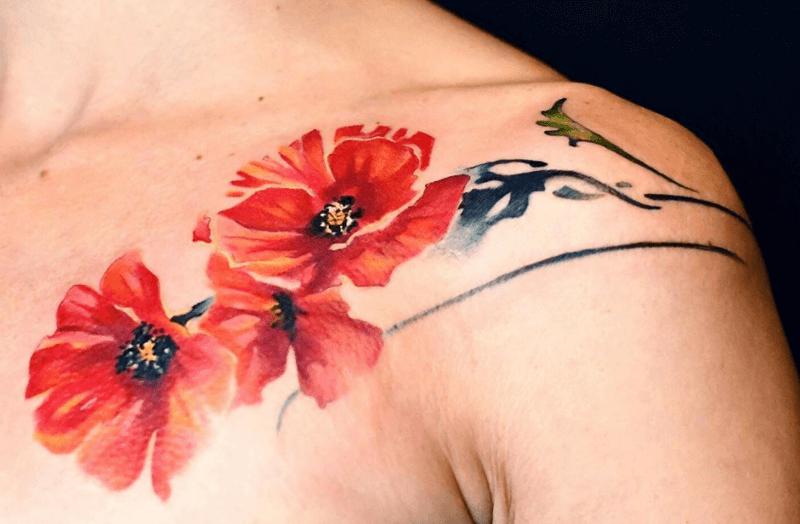 significado de los tatuajes de amapolas