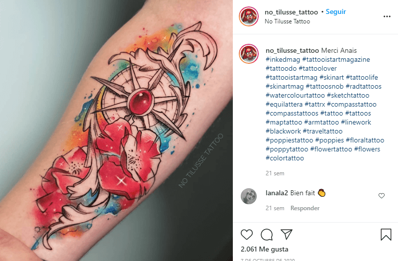 tatuajes de amapolas al estilo acuarela