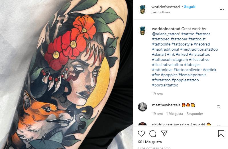 tatuajes de amapolas al estilo neo tradicional