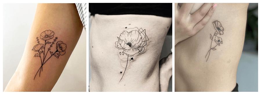 tatuajes minimalistas de amapolas
