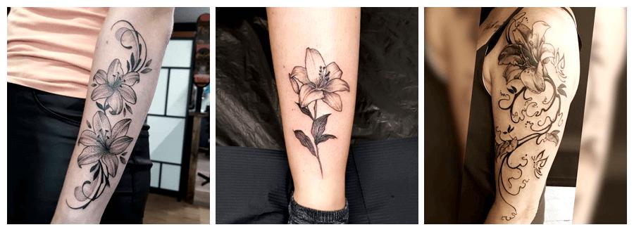 tatuajes de flores de lirios o azucenas