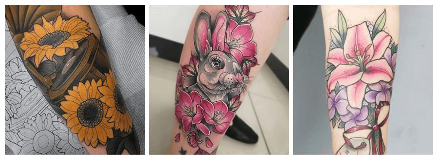 significados de los tatuajes de flores a color