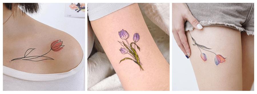 ideas de tatuajes de tulipanes para mujeres