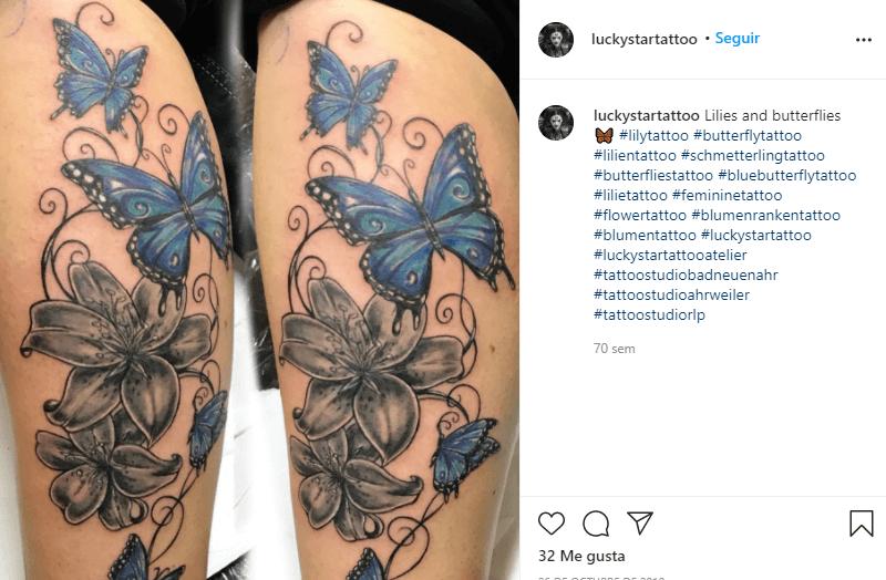 significado de los tatuajes de lirios con mariposas